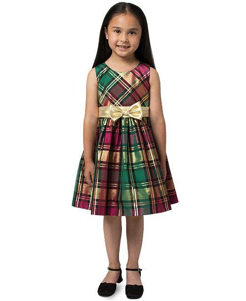 Bonnie Jean Toddler Girls Plaid Bow Dress