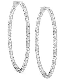 Diamond Large In & Out Hoop Earrings (7 ct. t.w.) in 14k White Gold, 2.51""