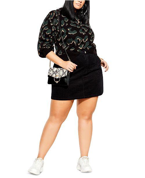 City Chic Trendy Plus Size Leopard-Print Sweater