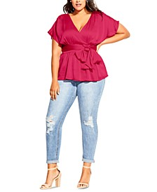 Trendy Plus Size Faux-Wrap Top