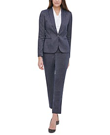Pinstripe Peak-Lapel Blazer, Knot-Neck Top & Radcliffe Pinstriped Slim-Fit Pants