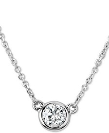 "Certified Diamond Bezel Pendant Necklace (1/4 ct. t.w.) in 14k White Gold, 16"" + 2"" extender"