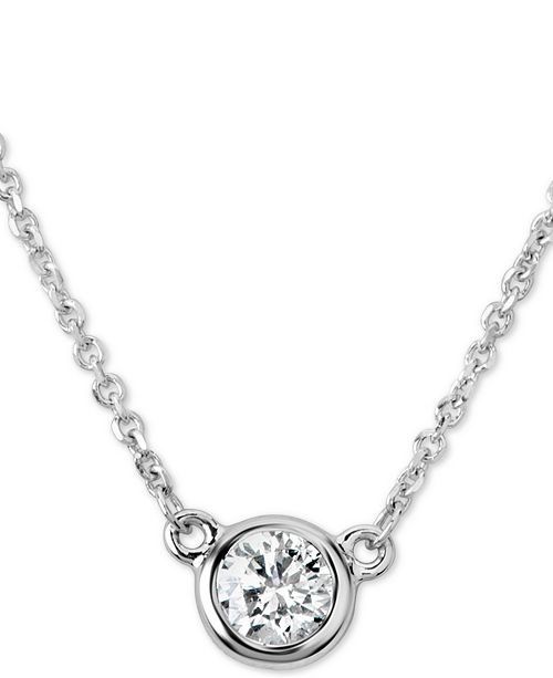 "Macy's Certified Diamond Bezel Pendant Necklace (1/4 ct. t.w.) in 14k White Gold, 16"" + 2"" extender"