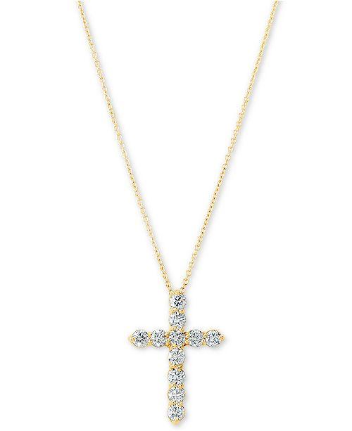 """Macy's Certified Diamond Cross Pendant Necklace (1 ct. t.w.) in 14k Gold, 16"""" + 2"""" extender"""