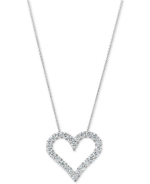 "Macy's Certified Diamond Heart Pendant Necklace (1-3/4 ct. t.w.) in 14k White Gold, 16"" + 2"" extender"