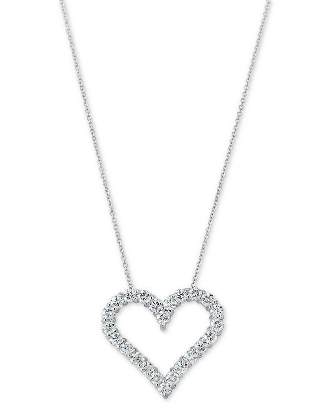 "Macy's Certified Diamond Heart Pendant Necklace (1-3/4 ct. t.w.) in 14k White Gold, 16"" + 2"" extender"