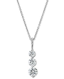 "Certified Diamond Graduated Journey Pendant Necklace (1 ct. t.w.) in 14k White Gold, 16"" + 2"" extender"