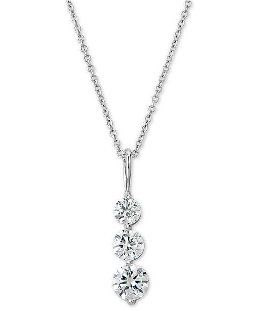"""Macy's Certified Diamond Graduated Journey Pendant Necklace (1 ct. t.w.) in 14k White Gold, 16"""" + 2"""" extender"""