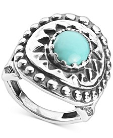 Turquoise Star Statement Ring in Sterling Silver
