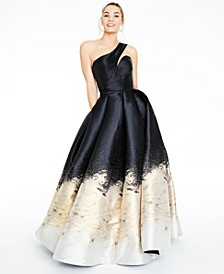 Juniors' One-Shoulder Metallic Mikado Gown