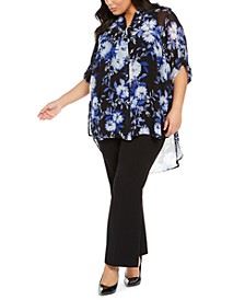 Plus Size Floral-Print High-Low Tunic