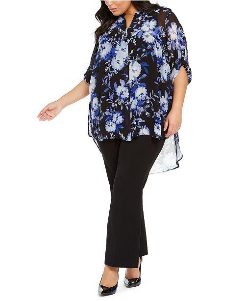 Calvin Klein Plus Size Floral-Print High-Low Tunic