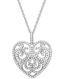 "Cubic Zirconia Filgree Heart 18"" Pendant Necklace in Sterling Silver"