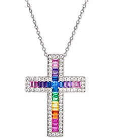 "Multi-Color Cubic Zirconia Cross 18"" Pendant Necklace in Sterling Silver"