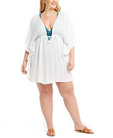 Trendy Plus Size Metallic-Stripe Cover-Up