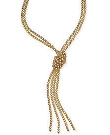 """Imitation Pearl Knotted Lariat Necklace, 28"""" + 2"""" extender, Created for Macy's"""