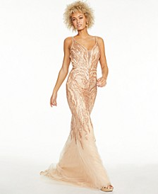Juniors' Mesh Embroidered Gown