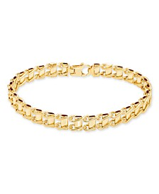 "Men's Railroad Track Link 8.5"" Bracelet in 10K Yellow Gold"