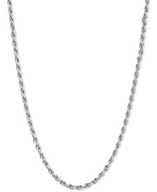 """Rope Link Chain Necklace 18""""–22"""" in Sterling Silver or 18k Gold-Plated Sterling Silver (2-1/5mm)"""