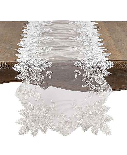 Saro Lifestyle Fancy Floral Embroidery Runner