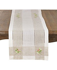 Orchid Embroidery Hemstitch Runner