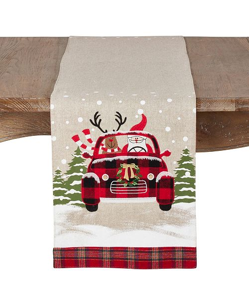 Saro Lifestyle Christmas Runner with Santa and Reindeer Car Design