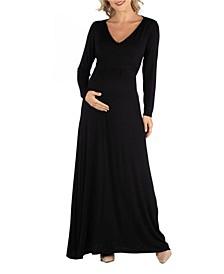 Semi Formal Long Sleeve Maternity Maxi Dress