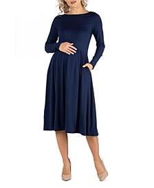 Midi Length Fit N Flare Pocket Maternity Dress