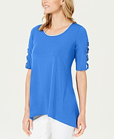 Petite Braided-Sleeve Tunic, Created For Macy's