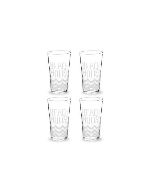 Rosanna Imports Vacation Getaway Glass Tumbler Beach House - Set of 4