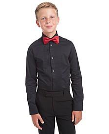 Big Boys 2-Pc. Slim-Fit Pintucked Tuxedo Shirt & Bow Tie Set