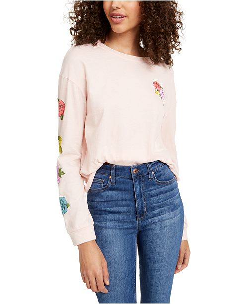 Rebellious One Juniors' Rose Long-Sleeved Graphic T-Shirt
