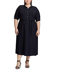 Plus Size Belted Jersey Shirtdress