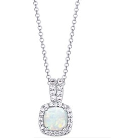 Birthstone Cushion Halo Pendant Necklace in Fine Silver Plate