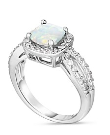 Simulated Birthstone Cushion Cubic Zirconia Halo Solitaire Ring in Fine Silver Plate
