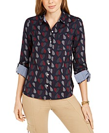 Cotton Polka-Heart Roll-Sleeve Shirt