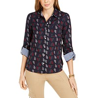 Deals on Tommy Hilfiger Cotton Polka-Heart Roll-Sleeve Shirt