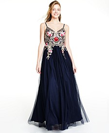 Juniors' Embellished Embroidered Mesh Gown