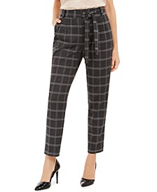 Petite Plaid Slim Fit Tie-Waist Pants