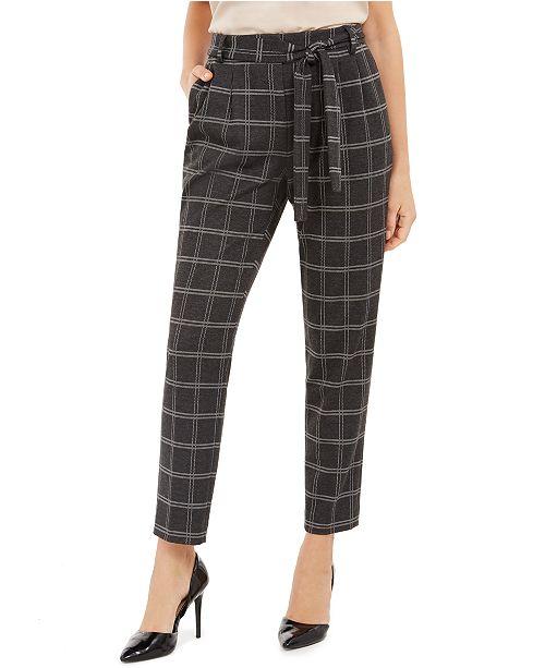 Calvin Klein Petite Plaid Slim Fit Tie-Waist Pants