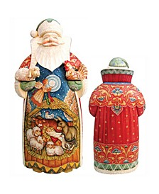 Woodcarved and Hand Painted Santa with Nativity Figurine