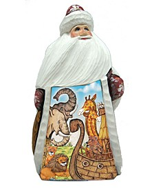 Woodcarved and Hand Painted Santa Noah Ark Figurine