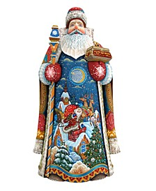 Woodcarved and Hand Painted Special Delivery Santa Claus Figurine