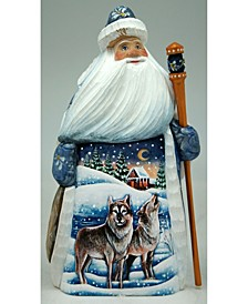 Woodcarved and Hand Painted Santa Wolf and Bird Figurine