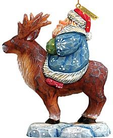 Santa On Reindeer Ornament