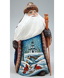 Woodcarved and Hand Painted Winter House Santa Figurine