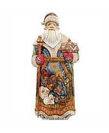 Woodcarved and Hand Painted Nativity Hand Painted Santa Claus Figurine