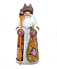 Woodcarved and Hand Painted Ornamental Santa Red Figurine