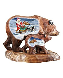 Woodcarved and Hand Painted Christmas Arrival Bears Family Figurines