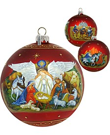 Limited Edition Oversized Guarding Light Iconic Nativity Ball Glass Ornament